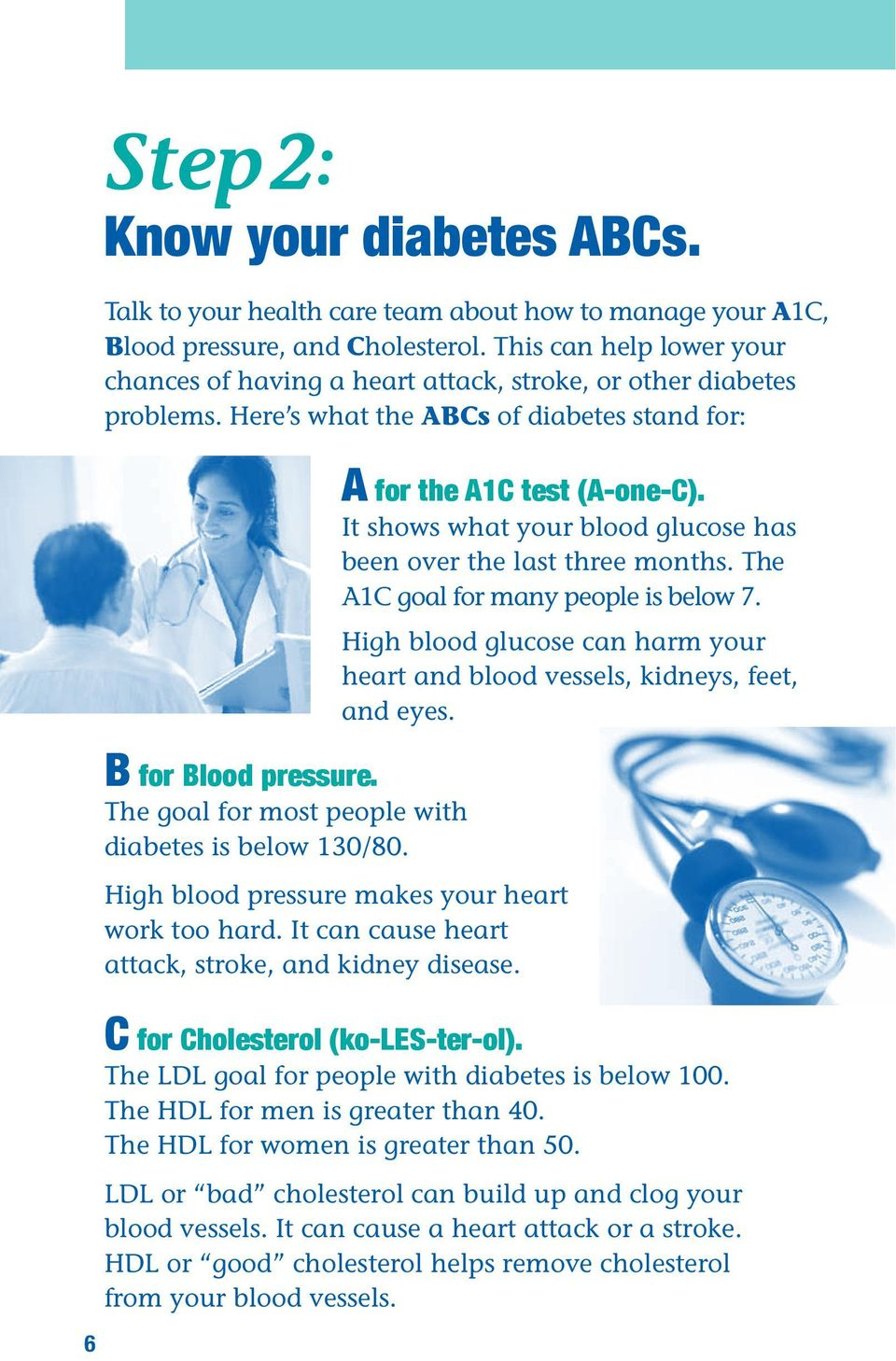The goal for most people with diabetes is below 130/80. High blood pressure makes your heart work too hard. It ca cause heart attack, stroke, ad kidey disease. A for the A1C test (A-oe-C).