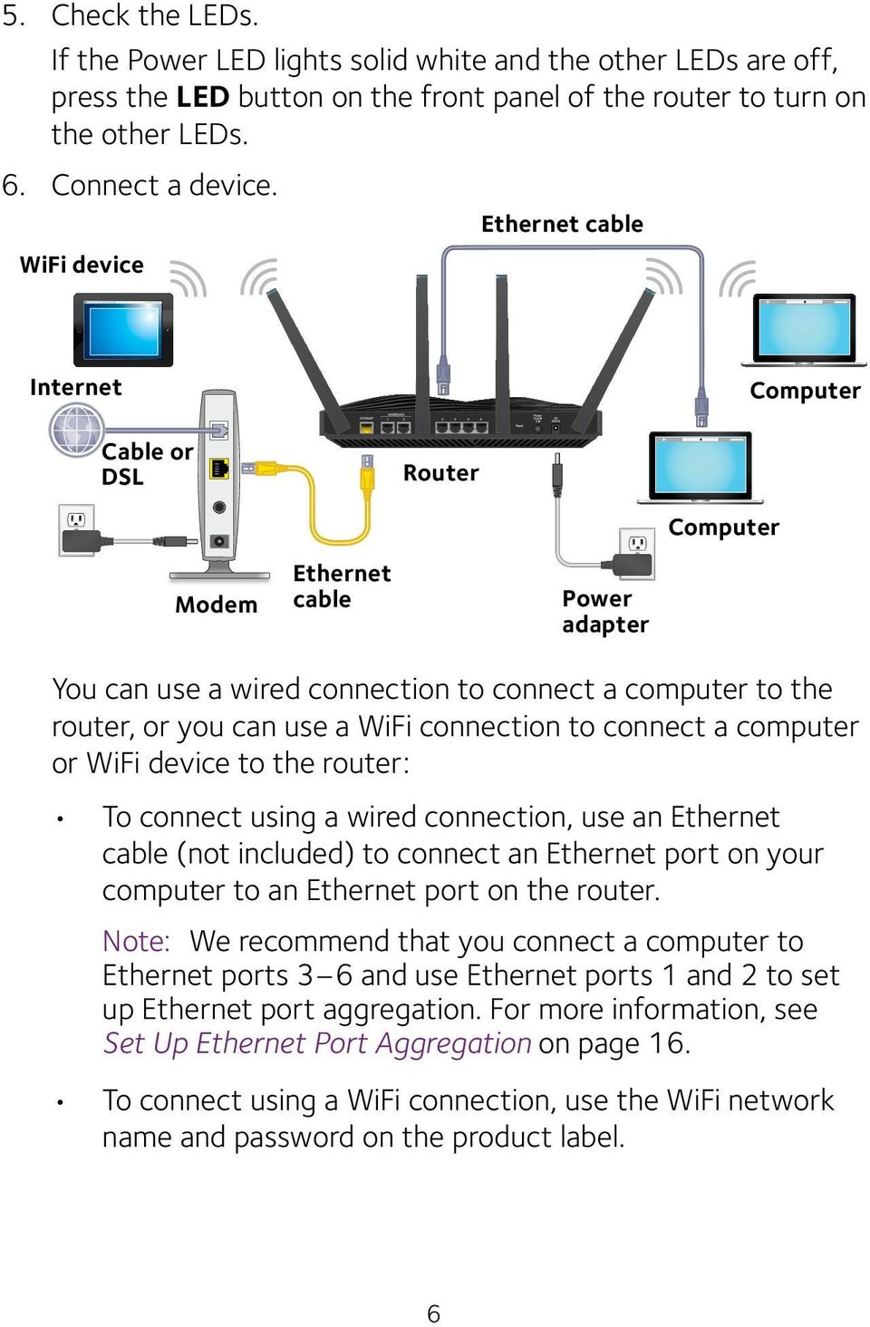 connection to connect a computer or WiFi device to the router: To connect using a wired connection, use an Ethernet cable (not included) to connect an Ethernet port on your computer to an Ethernet