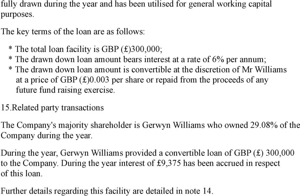 convertible at the discretion of Mr Williams at a price of GBP ( )0.003 per share or repaid from the proceeds of any future fund raising exercise. 15.