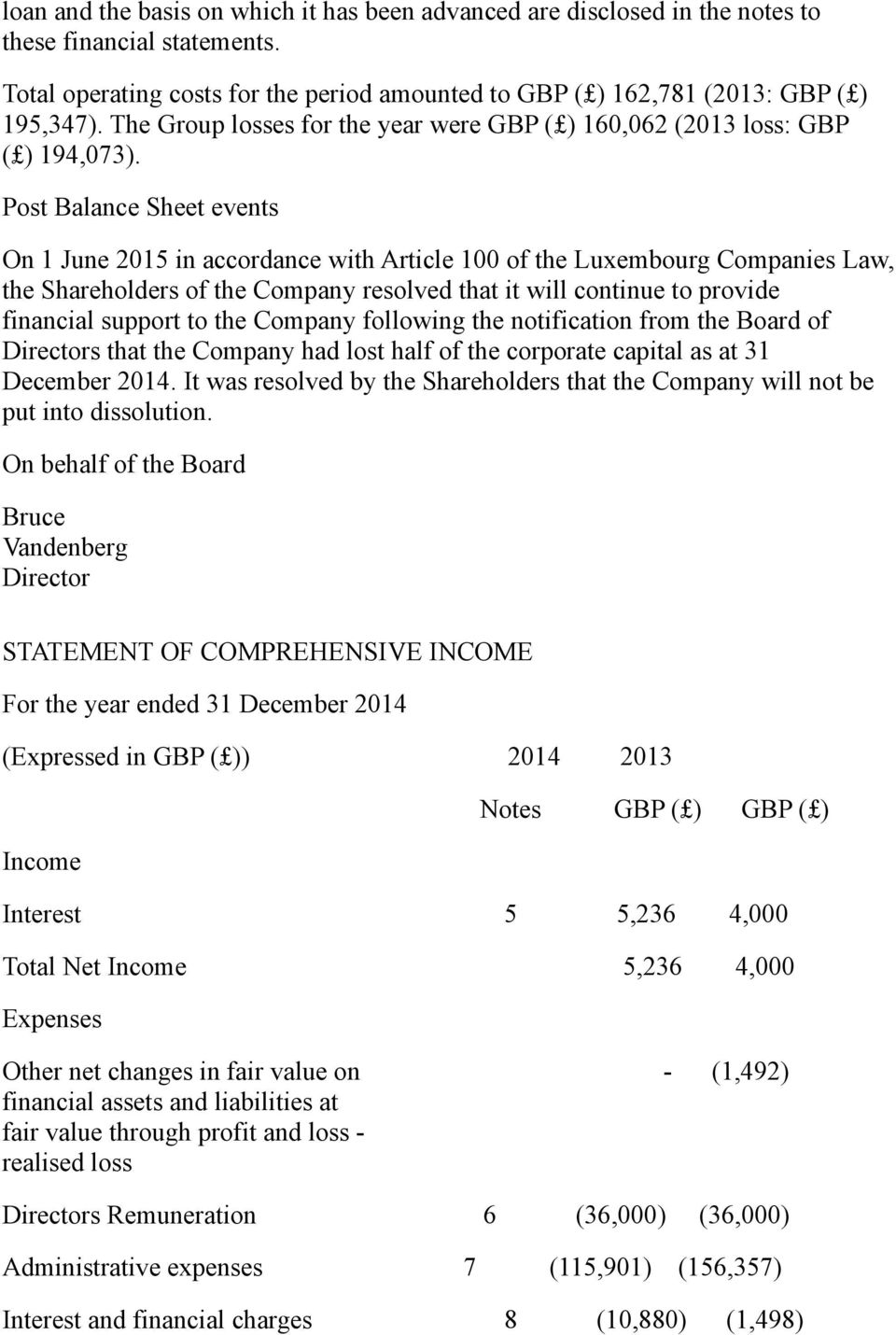 Post Balance Sheet events On 1 June 2015 in accordance with Article 100 of the Luxembourg Companies Law, the Shareholders of the Company resolved that it will continue to provide financial support to