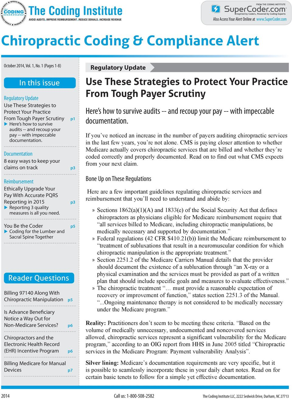 1 (Pages 1-8) In this issue Regulatory Update Use These Strategies to
