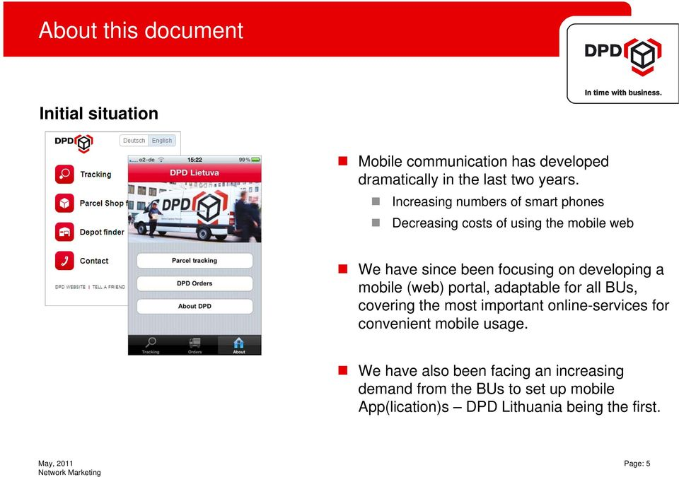 DPD App manual  Guideline for DPD Apps version 1 0  Network