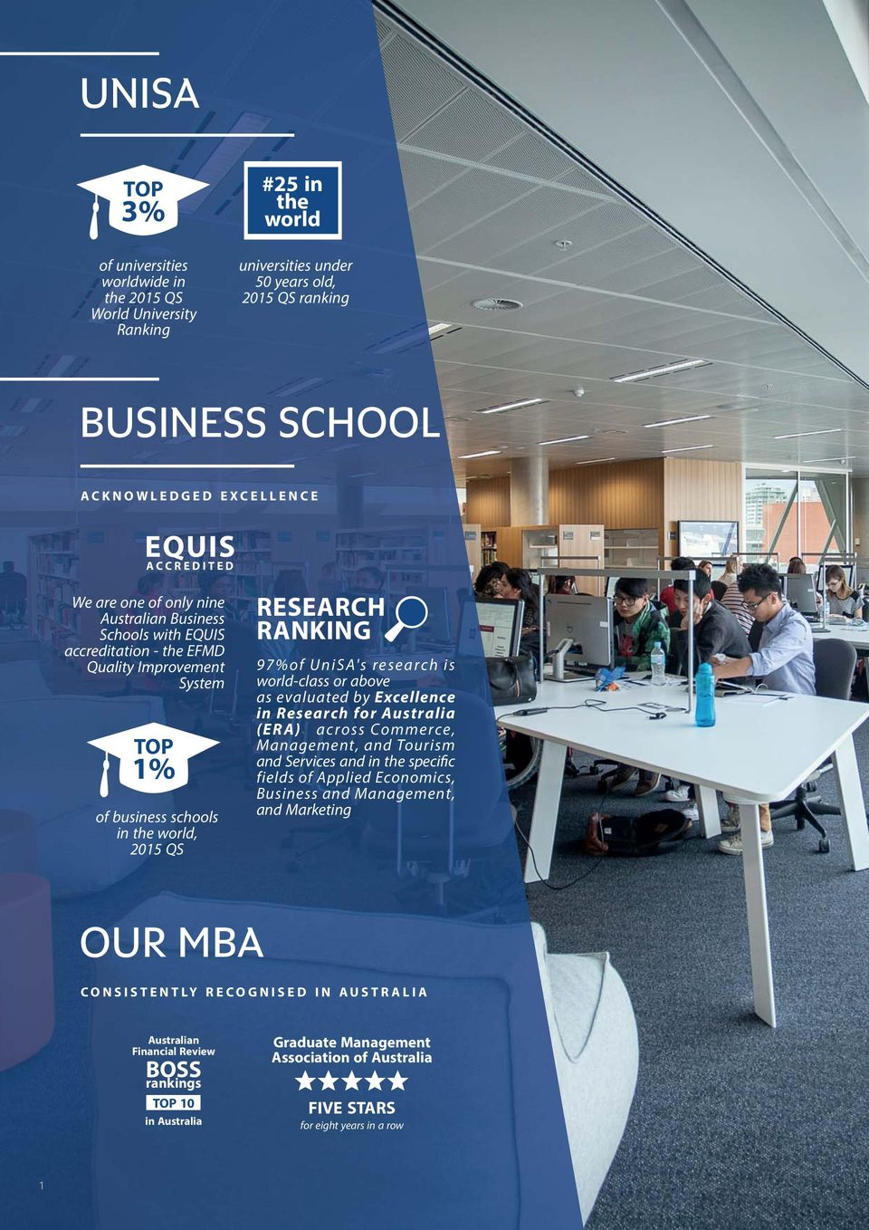 UniSA's research is world-class or above as evaluated by Excellence in Research for Australia (ERA) across Commerce, Management, and Tourism and Services and in the specific fields of Applied
