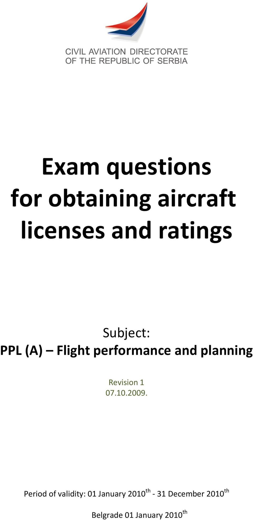 Exam questions for obtaining aircraft licenses and ratings - PDF