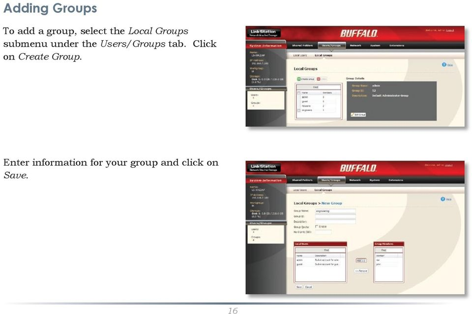 Users/Groups tab. Click on Create Group.