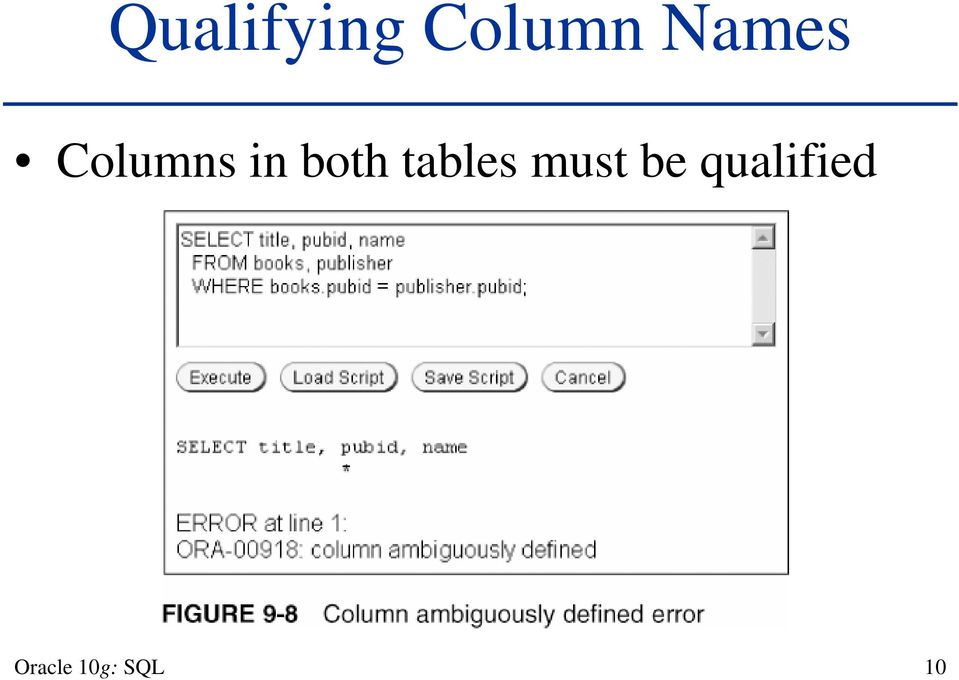 Chapter 9 Joining Data from Multiple Tables  Oracle 10g: SQL