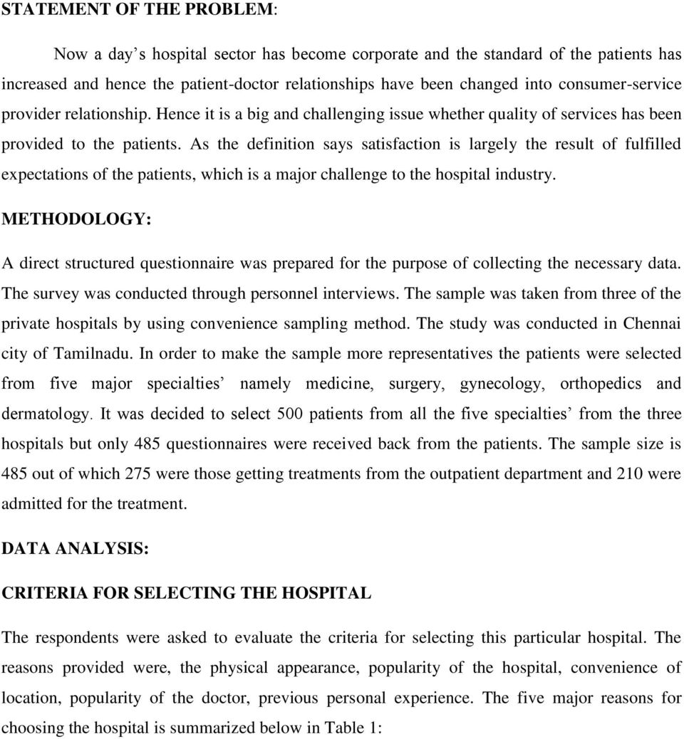 OUTCOME OF PATIENT SATISFACTION IN HOSPITAL SERVICES