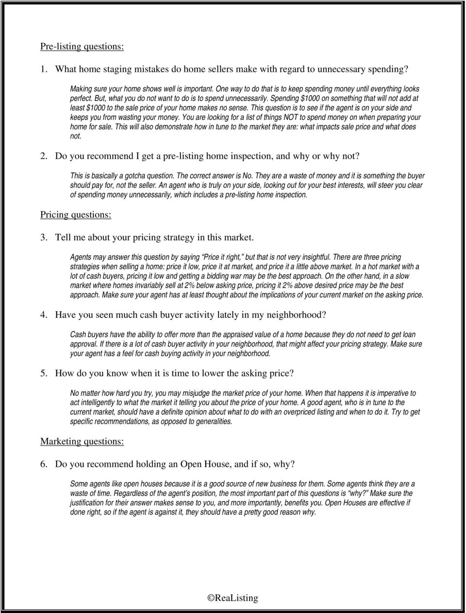Listing Agent Interview Questions - PDF