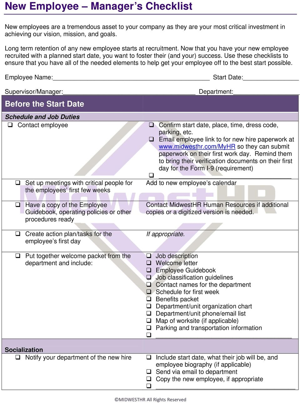New Employee Manager s Checklist - PDF