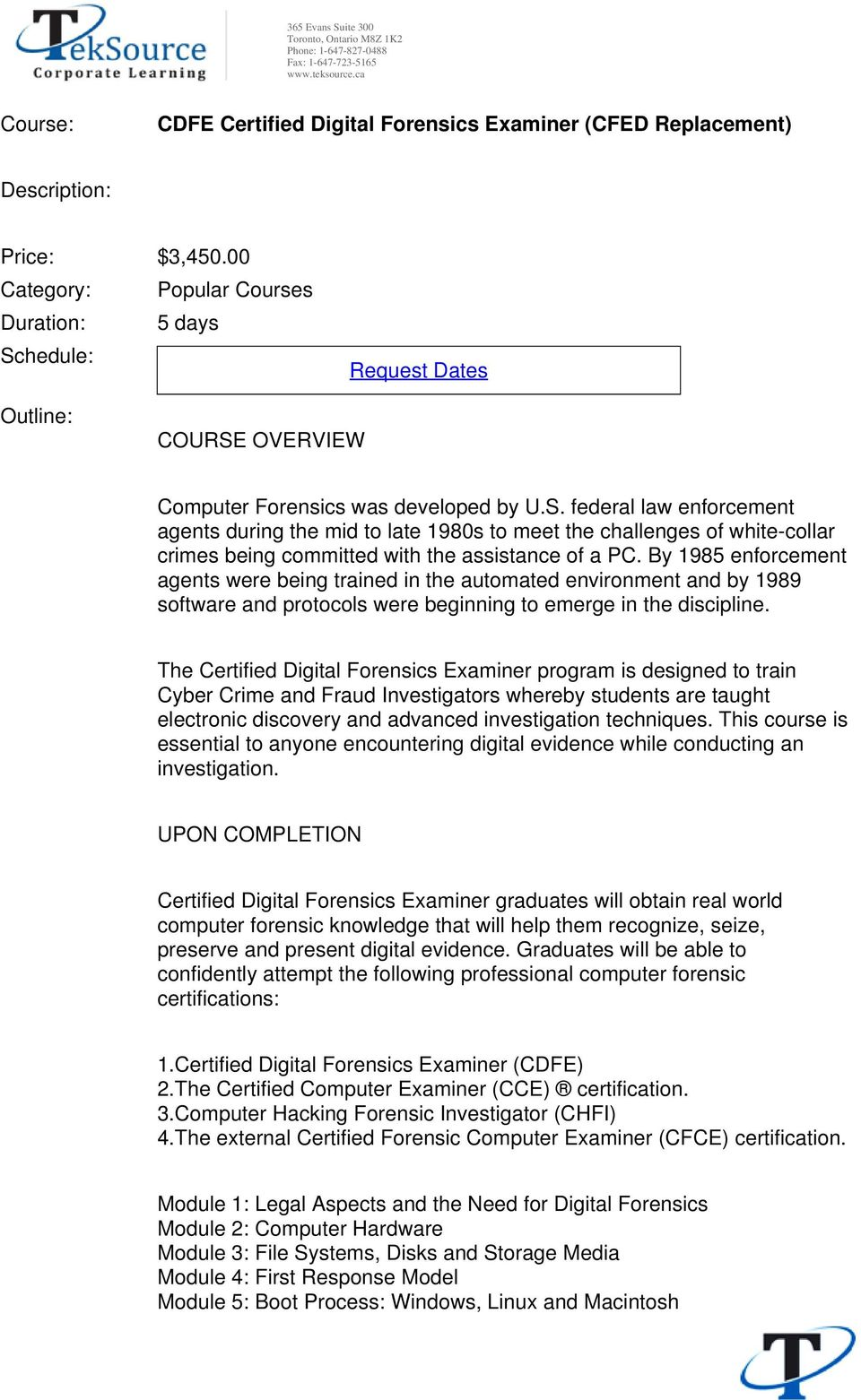 Cdfe Certified Digital Forensics Examiner Cfed Replacement Pdf