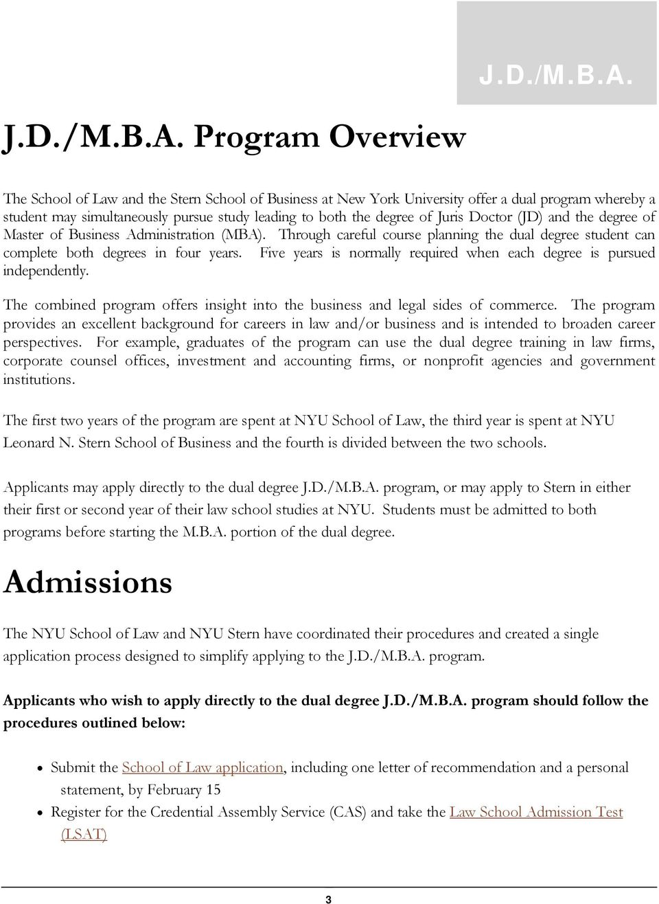 J D /M B A  Dual Degree Program Student Handbook  Updated