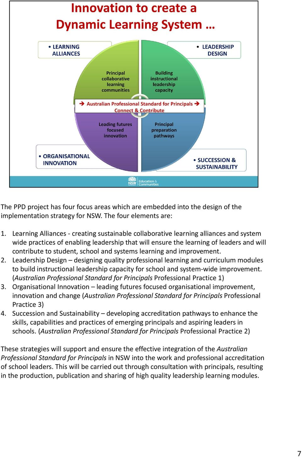 school and systems learning and improvement. 2.