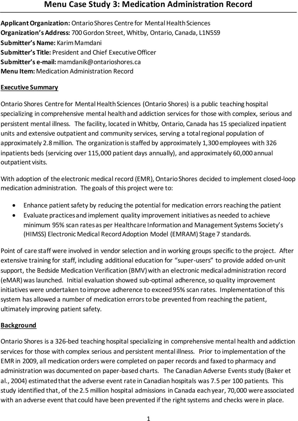 Menu Case Study 3: Medication Administration Record - PDF
