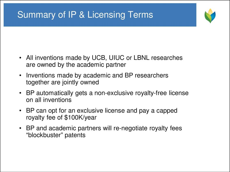 automatically gets a non-exclusive royalty-free license on all inventions BP can opt for an exclusive
