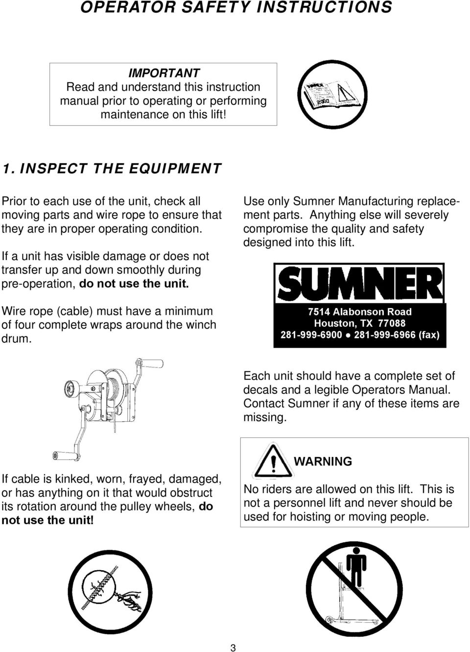 Operator S Manual Eventer 20 25 Series Lifts Pdf Wiring Schematic Diagram Guide Winch If A Unit Has Visible Damage Or Does Not Transfer Up And Down Smoothly During Pre 4 Safety Instructions