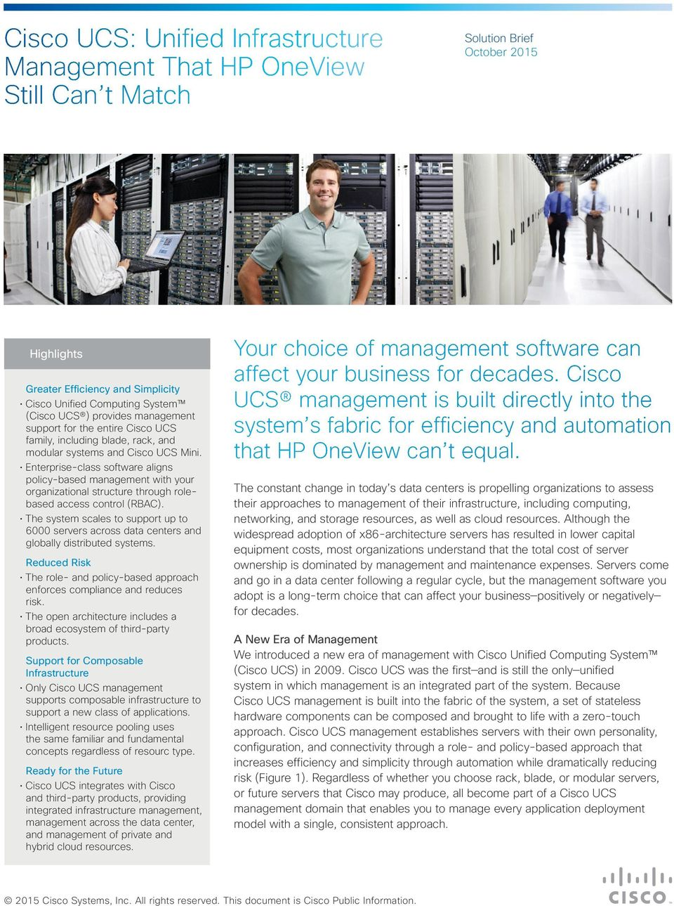 Cisco UCS: Unified Infrastructure Management That HP OneView
