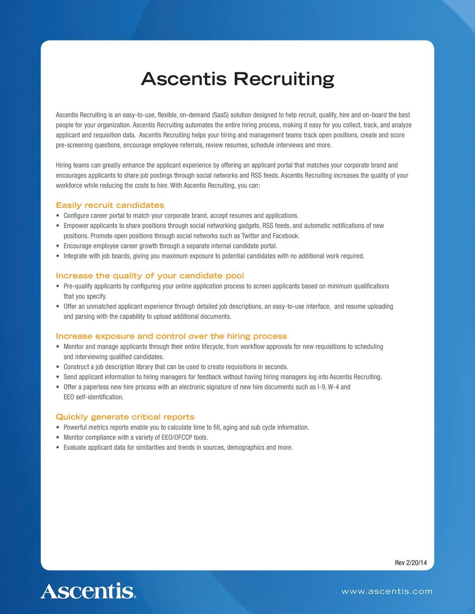 Ascentis HR  The easy-to-use HRIS  Comprehensive benefits