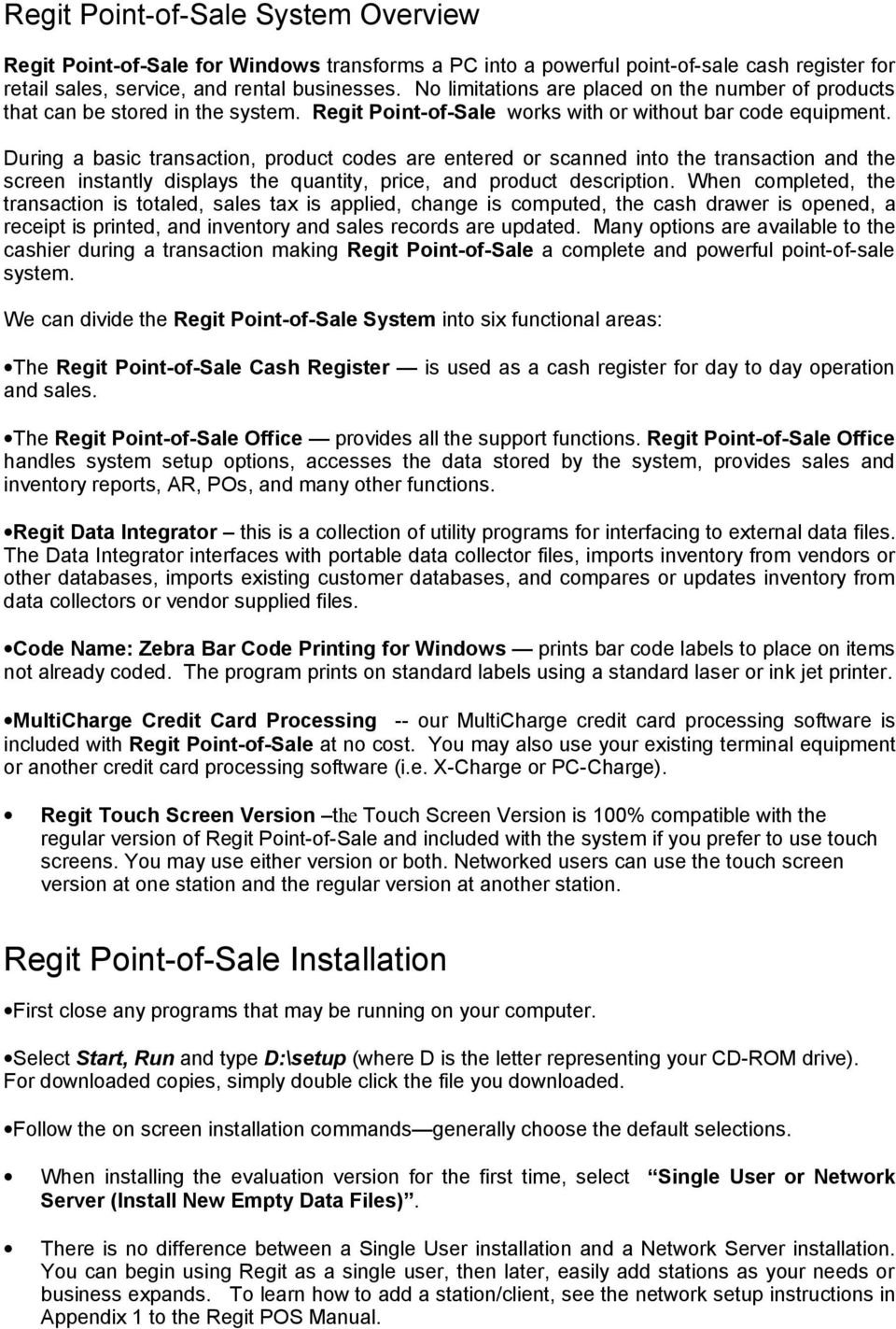 Regit Point-of-Sale  for Windows  Quick Start Guide - PDF