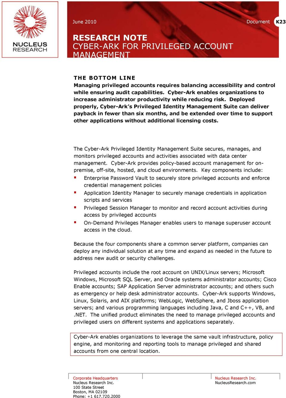 RESEARCH NOTE CYBER-ARK FOR PRIVILEGED ACCOUNT MANAGEMENT - PDF