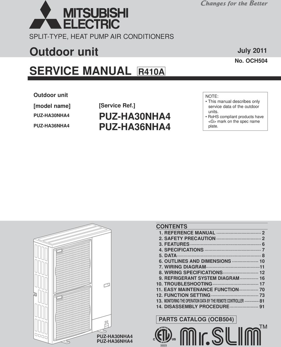 Outdoor Unit Service Manual Pdf Wiring Diagram Of Refrigeration System Reference Safety Precauti 3 Features 6 4 Specificatis 7 5 Data