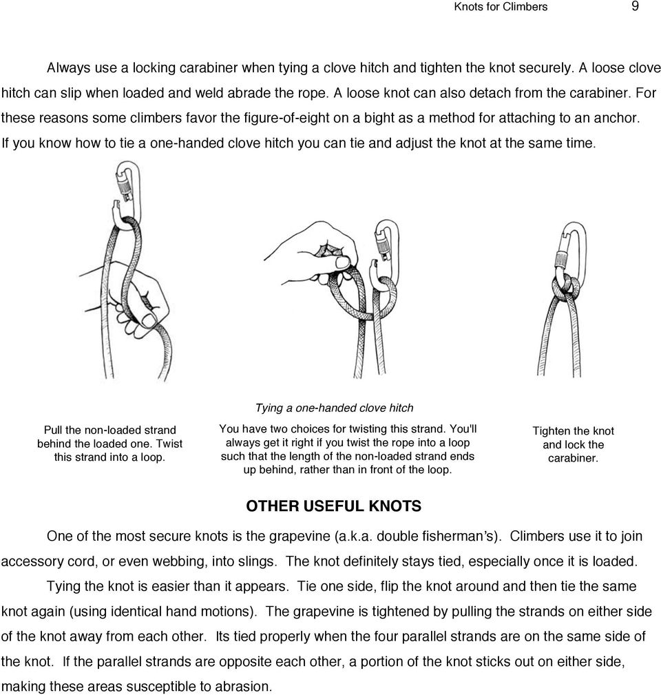Knots For Rock Climbers Knot Selection And Care Pdf Tying A Tie Diagram If You Know How To One Handed Clove Hitch Can