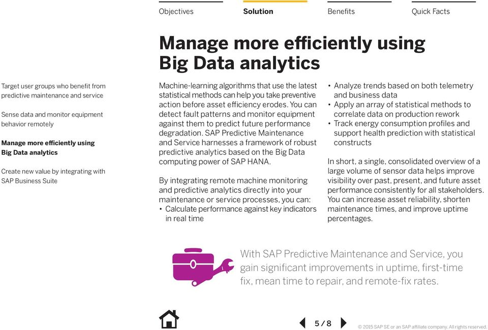 SAP Predictive Maintenance and Service harnesses a framework of robust predictive analytics based on the Big Data computing power of SAP HANA.