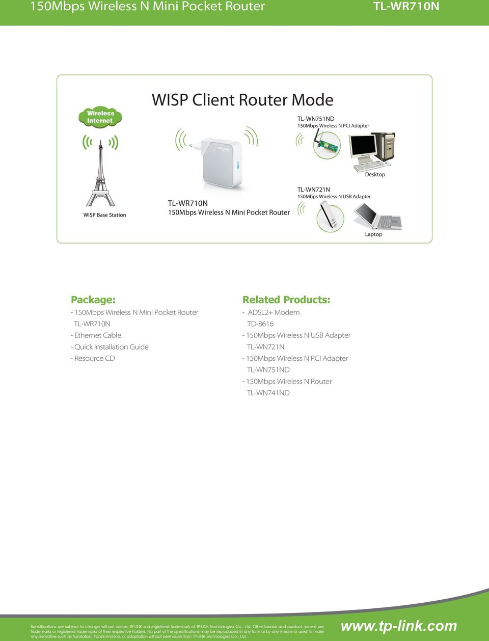 Products: - ADSL2+ Modem TD-8616 - - - 150Mbps Wireless N Router