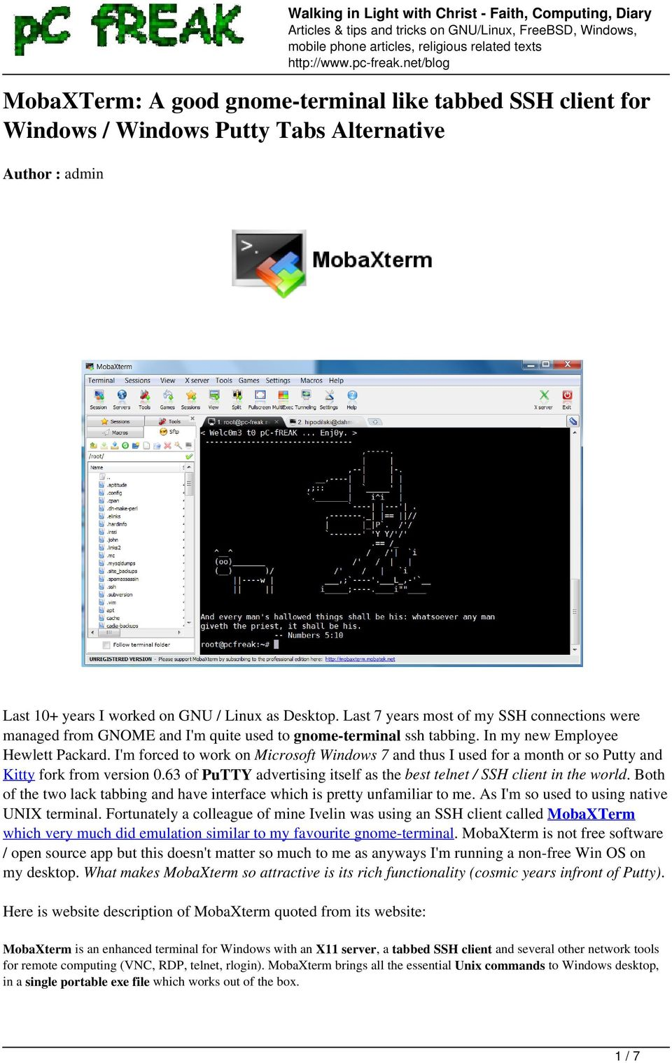 MobaXTerm: A good gnome-terminal like tabbed SSH client for Windows
