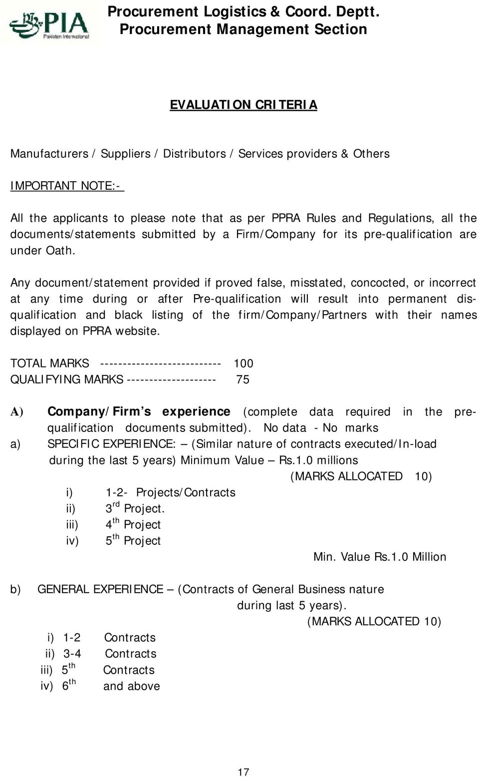 PRE-QUALIFICATION DOCUMENT PRE-QUALIFICATION OF SUPPLIERS
