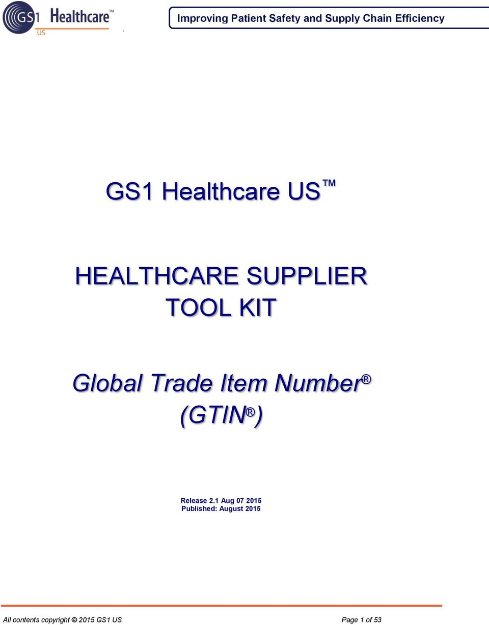 GS1 Healthcare US HEALTHCARE SUPPLIER TOOL KIT  Global Trade