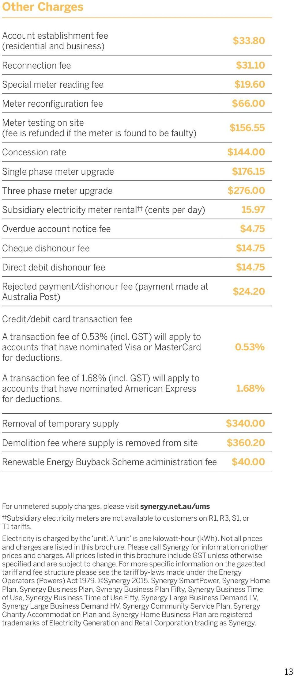 00 Subsidiary electricity meter rental (cents per day) 15.97 Overdue account notice fee $4.75 Cheque dishonour fee $14.75 Direct debit dishonour fee $14.
