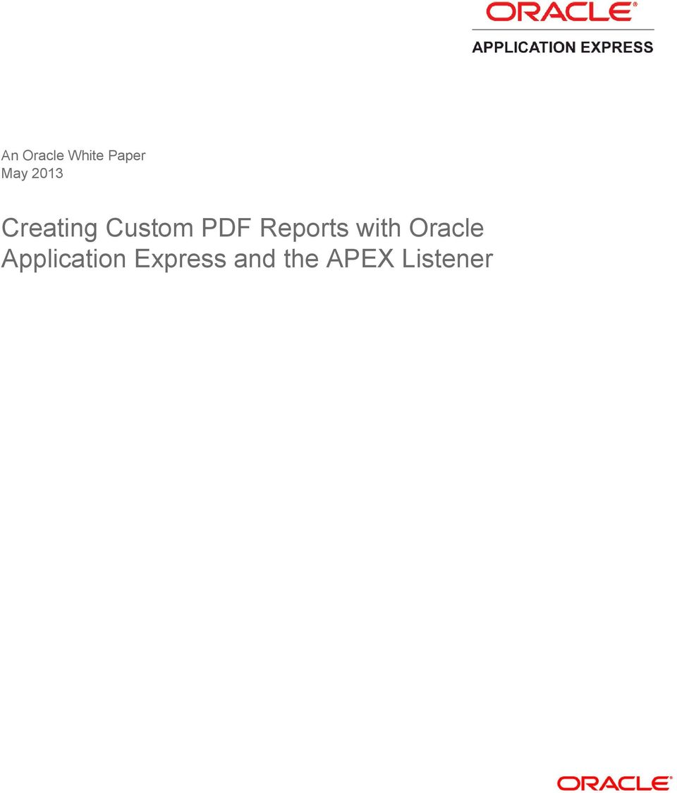 Reports with Oracle