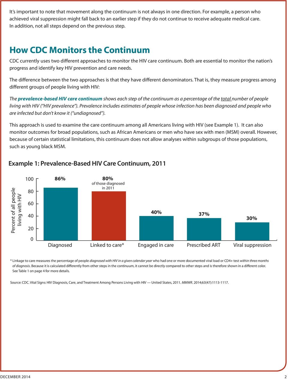 In addition, not all steps depend on the previous step. How CDC Monitors the Continuum CDC currently uses two different approaches to monitor the HIV care continuum.