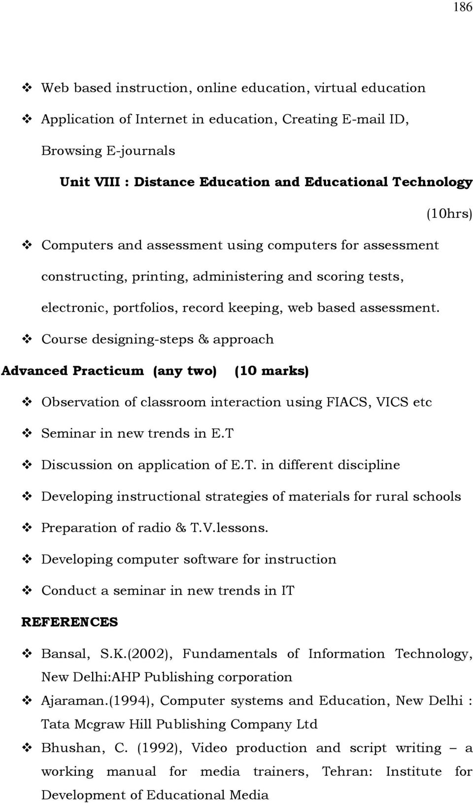 Part I C Elective Paper Paper Vii Educational Technology Course Outline Course Code Contact Hours 108 Max Weight 32 Pdf Free Download