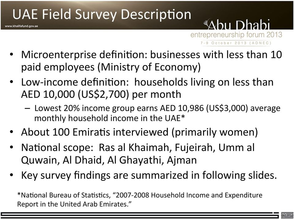 Summary of UAE Microfinance Research  Noor Al Jallaf Khalifa