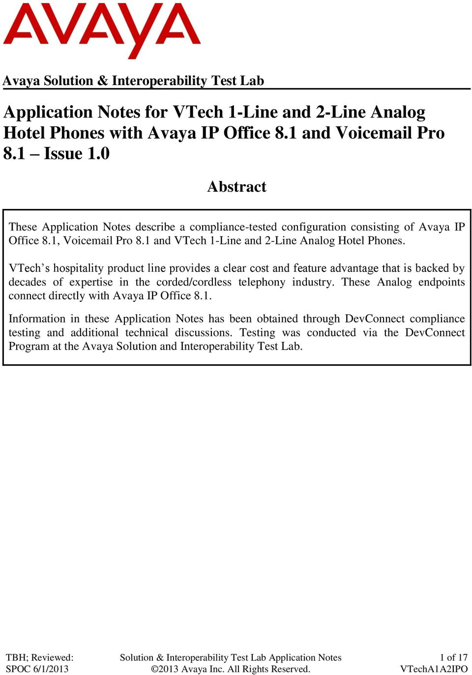 Application Notes for VTech 1-Line and 2-Line Analog Hotel