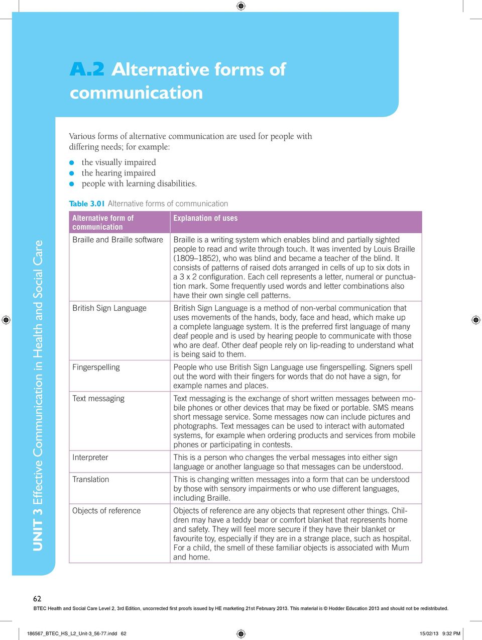 specific communication needs in health and social care