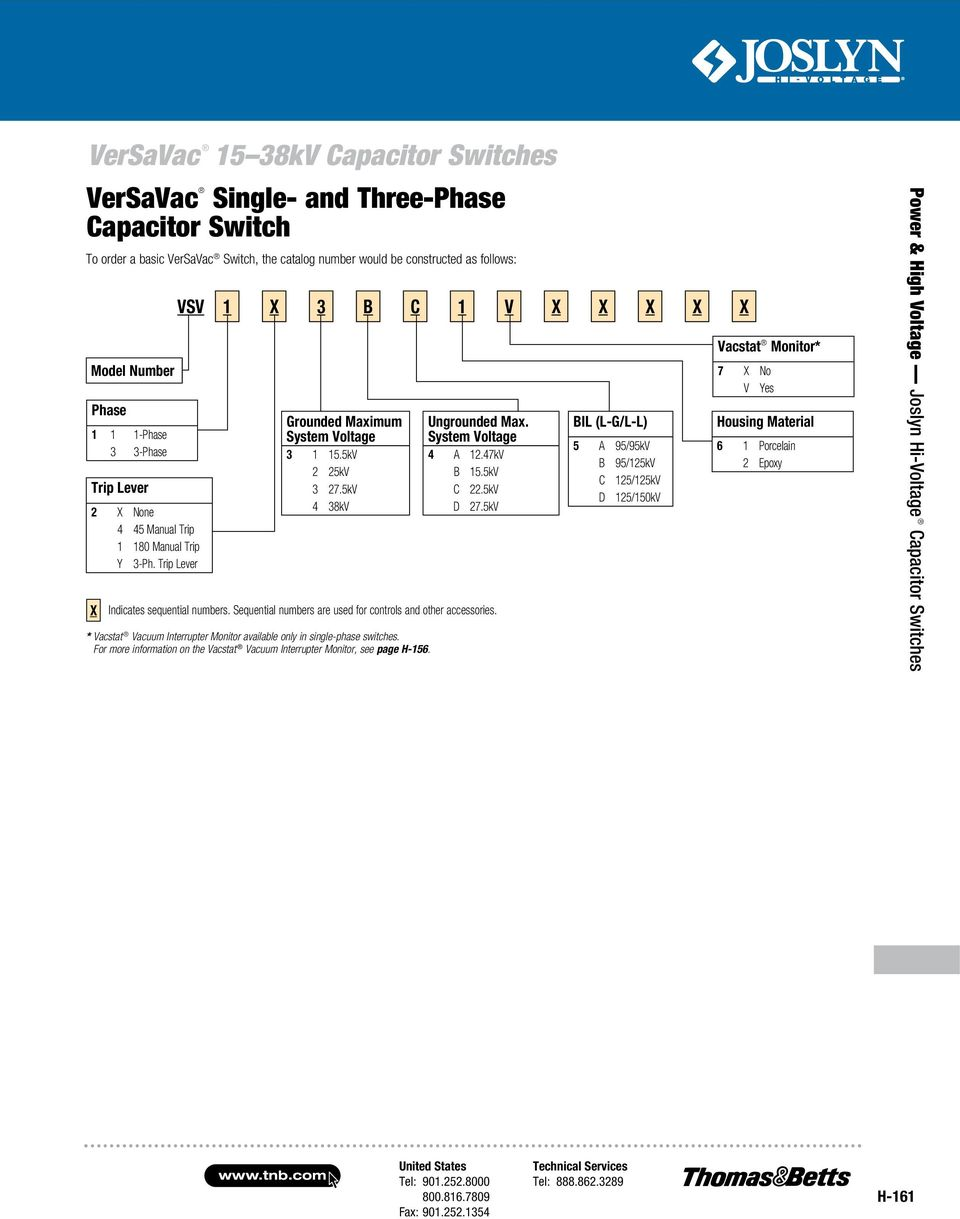 Joslyn Hi Voltage Capacitor Switches Pdf Opto Interrupter Repeatability Gear Diagram 5kv 4 38kv Indicates Sequential Numbers Are Used For Controls And Other Accessories