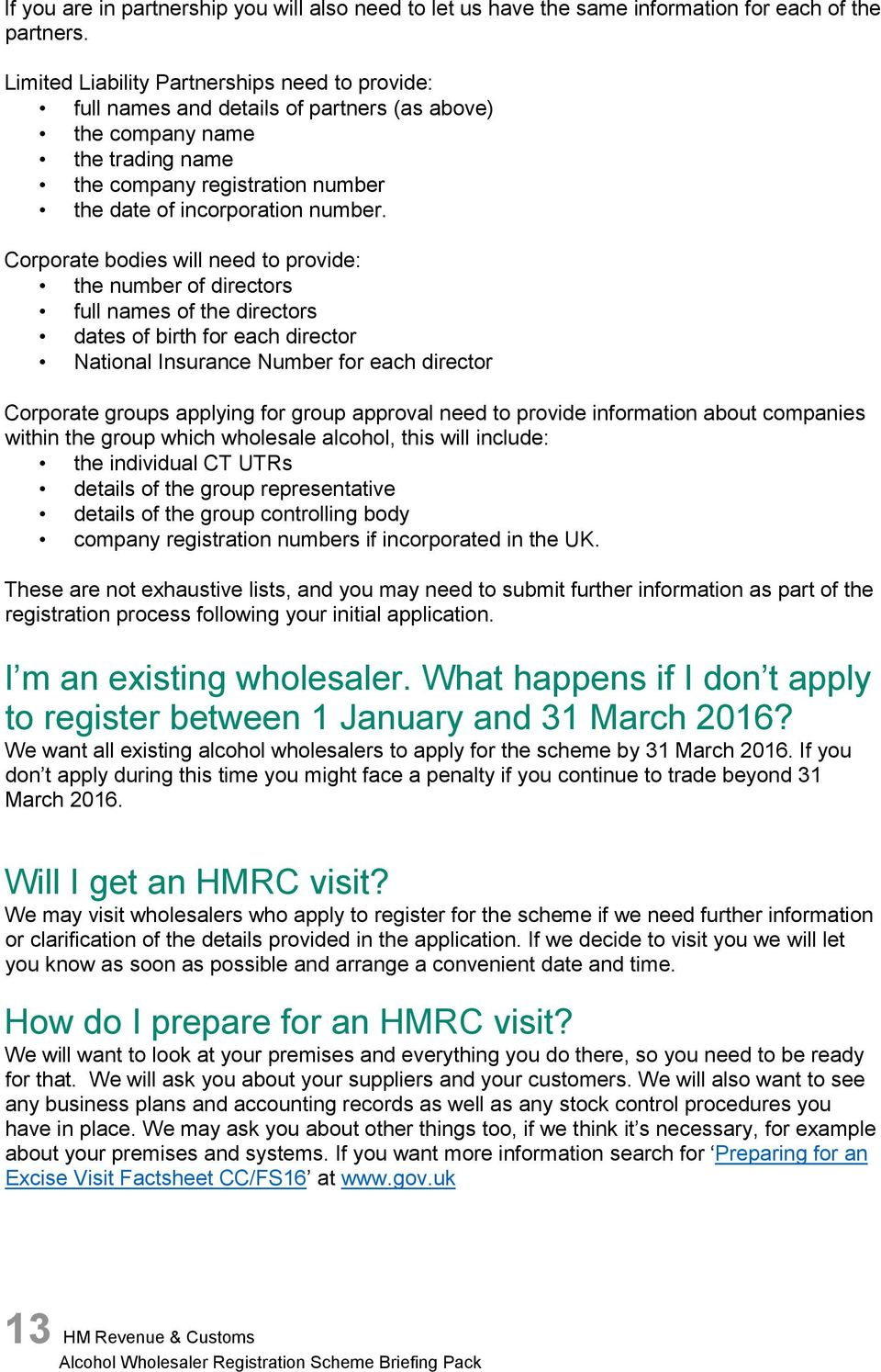Alcohol Wholesaler Registration Scheme (AWRS) Briefing Pack