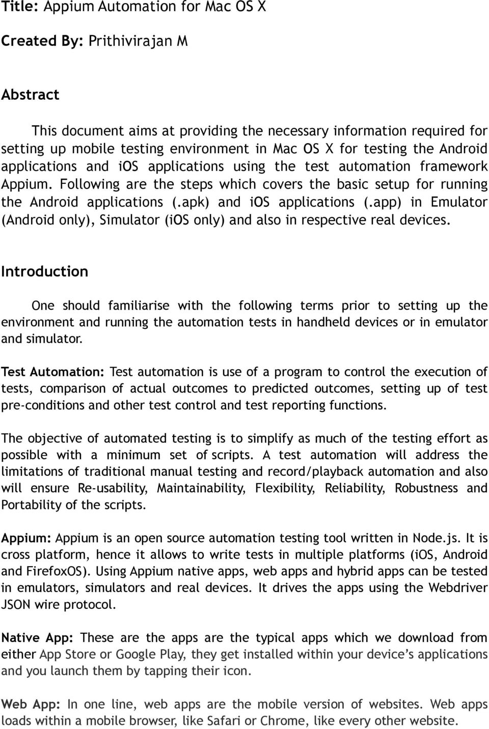 Title: Appium Automation for Mac OS X  Created By