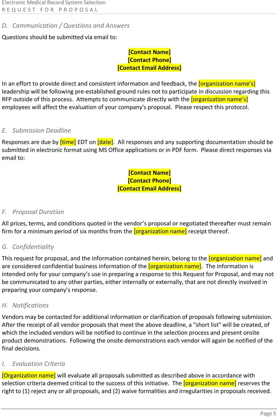 Electronic Medical Record (EMR) Request for Proposal (RFP) - PDF