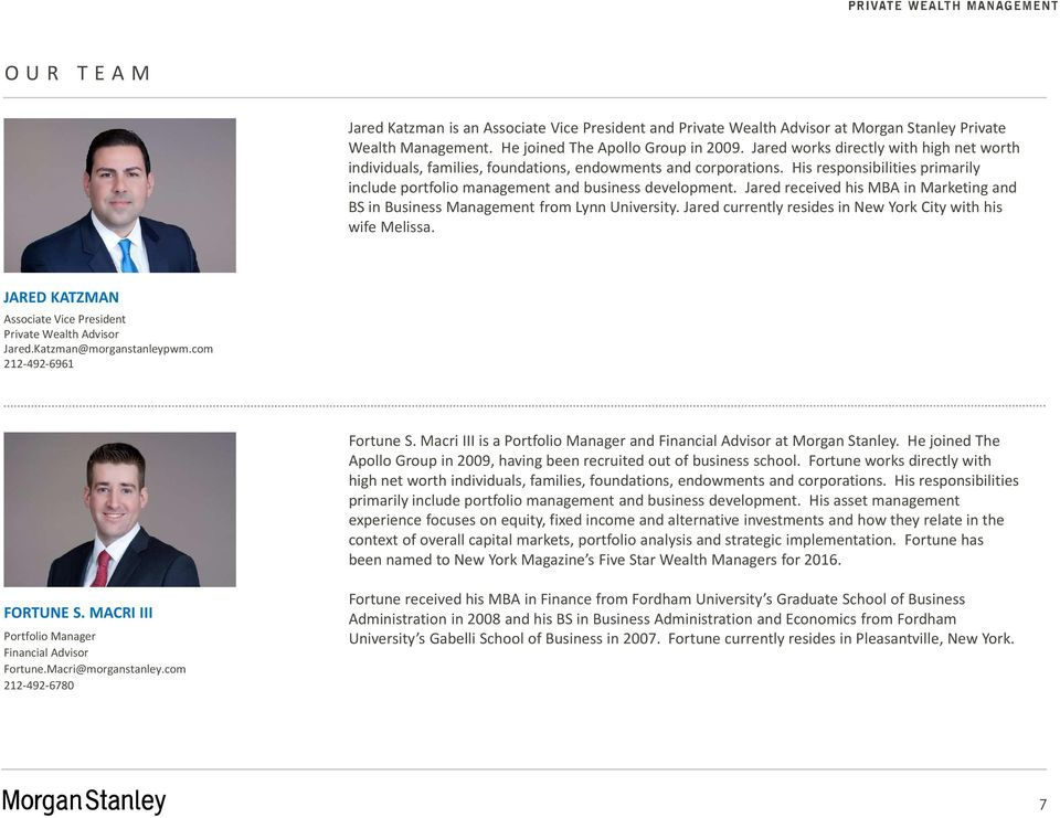 THE APOLLO GROUP AT MORGAN STANLEY PRIVATE WEALTH MANAGEMENT