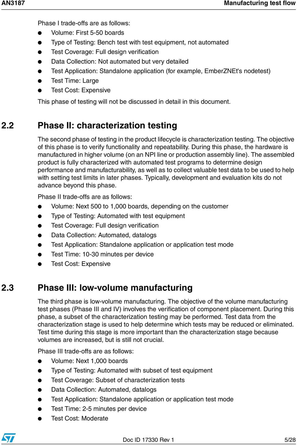 discussed in detail in this document. 2.2 Phase II: characterization testing The second phase of testing in the product lifecycle is characterization testing.