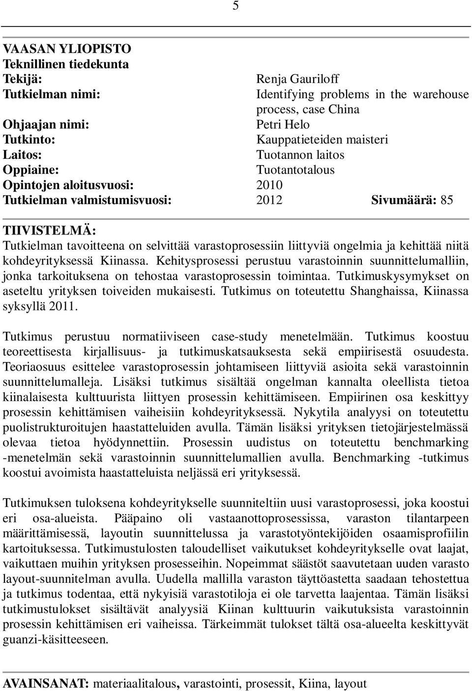 UNIVERSITY OF VAASA FACULTY OF TECHNOLOGY INDUSTRIAL MANAGEMENT - PDF