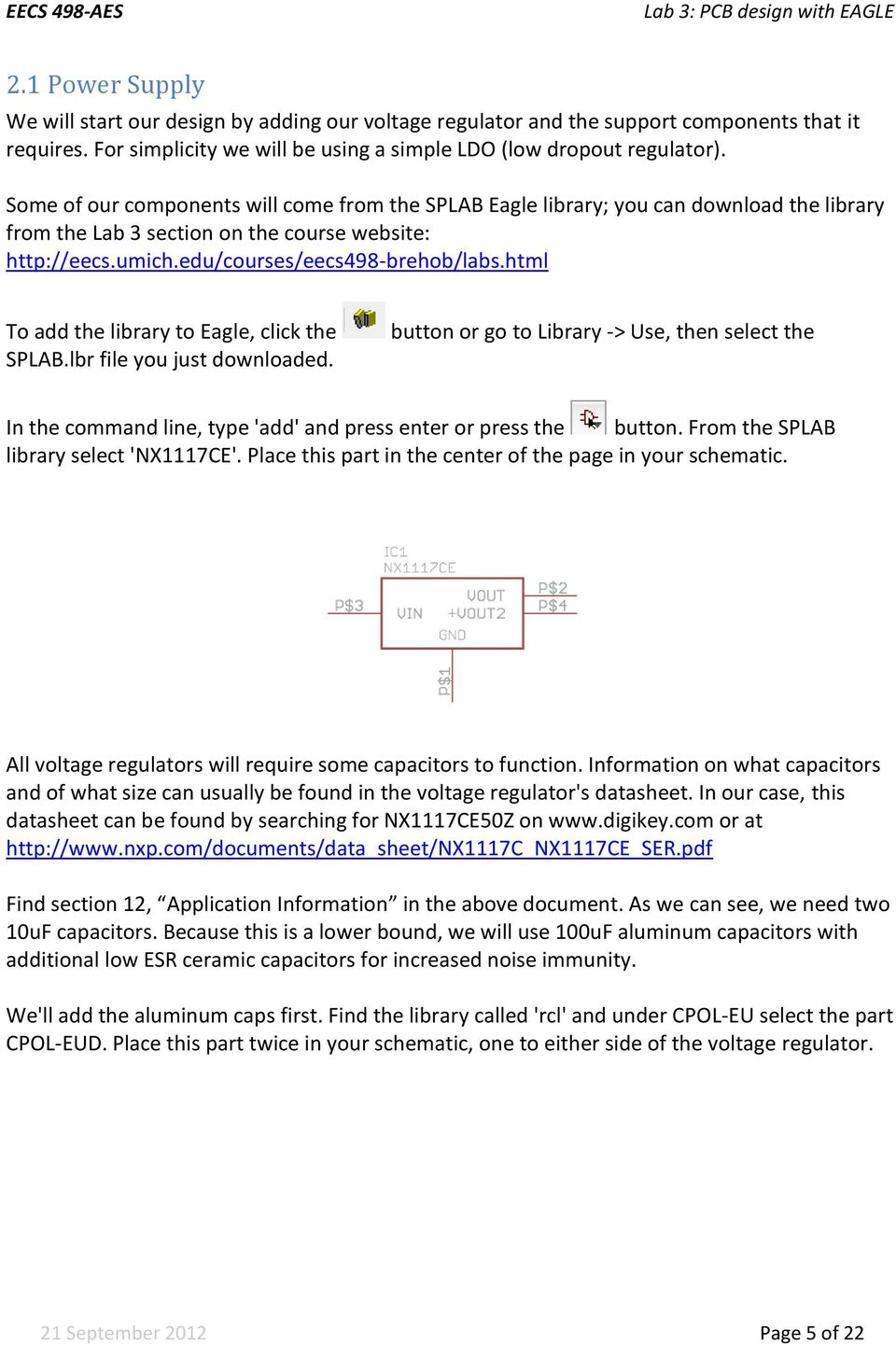 Lab 3 Pcb Design With Eagle Pdf Electrical Schematic Digikey Html To Add The Library Click Splablbr File You Just