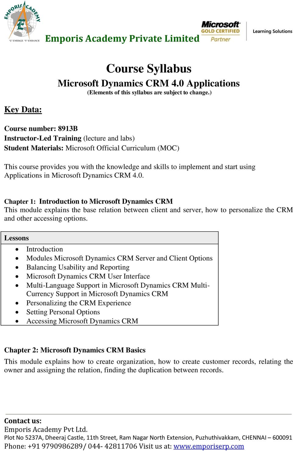Emporis Academy Private Limited  Course Syllabus  Microsoft Dynamics