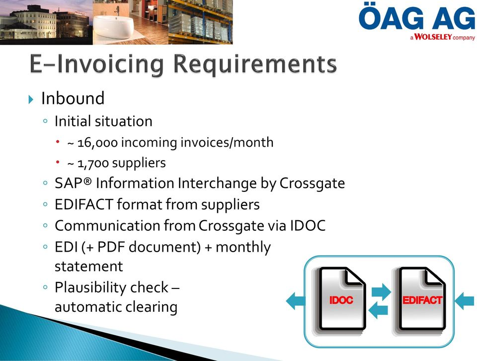 format from suppliers Communication from Crossgate via IDOC EDI