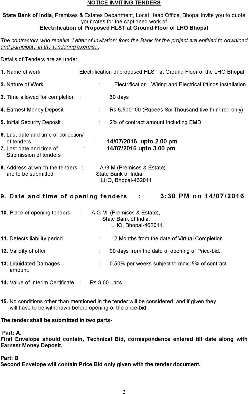 State Bank Of India Premises And Estates Department L H O Bhopal Pdf Wiring Earnest Money Details Tenders Are As Under 1 Name Work Electrification Proposed Hlst