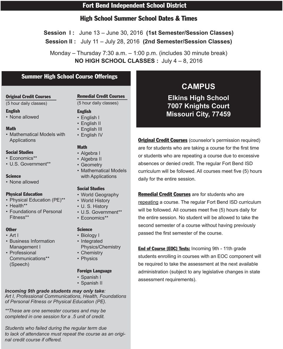 Middle and High School Summer Program Fort Bend ISD Instructions for