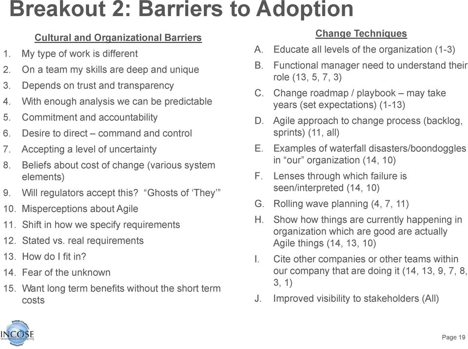 Beliefs about cost of change (various system elements) 9. Will regulators accept this? Ghosts of They 10. Misperceptions about Agile 11. Shift in how we specify requirements 12. Stated vs.